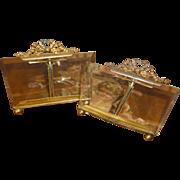 Charming pair French photo frames : ormolu ribbon bow pediment : beveled glass : circa 1900