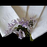 Set 6 antique French monogrammed linen damask dowry napkins : lapkins : serviettes