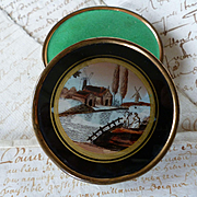 Pretty 19th C. French candy bonbons box : eglomise scene :  couple windmills