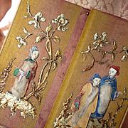 Rare 19th C. French silk confiserie chocolate box :  Louis Marquis Paris, Oriental scenes