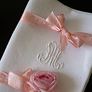 Set of 10 antique French large linen damask monogrammed napkins : HM or MH