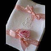 Set of 10 antique French large linen damask monogrammed napkins : HM or MH