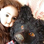 Adorable vintage French LouLou Pomeranian pajama dog : ideal Jumeau doll companion