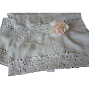 French Fine linen bolster pillow cover : cut work : hand embroidered entwinned monogram