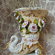19th C. Jacob Petit French porcelain cornucopia swan vase : encrusted with flowers
