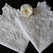 Delicious pair French square pillow cases or shams : pinks carnation motif embroidery : monogram