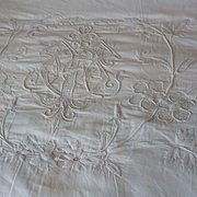 Exquisite antique French fine linen hand embroidered sheet : 92  x 140 inches