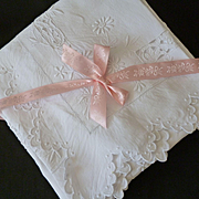 Delicious pair French square pillowcases or shams : daisy motif : cut work : monogram