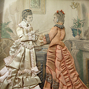 Decorative French fashion engraving with applied ladies gowns : shadow box