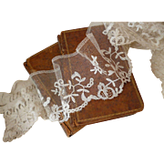 Delicious 19th C. flounce  hand embellished tulle net lace 108 inches long : projects