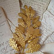 Gleaming French gilt metal award embellishment : acorn : laurel and oak leaf motifs