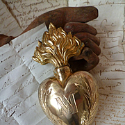 Decorative 19th C. French brass sacred heart holy water flacon : thank you message