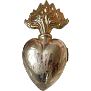 Large 19th C. French gilt metal flaming sacred heart ex voto box :  5 1/2 inches long
