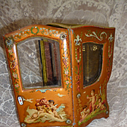 Enchanting French miniature display sedan chair vitrine : cherubs : mignonette doll