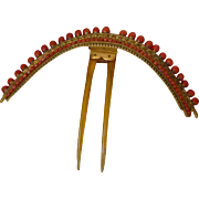 Exquisite  antique French gilt metal coral diadem  : Empire : Georgian period