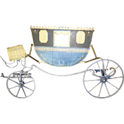 Decorative vintage French flat metal carriage display stand : doll accessory