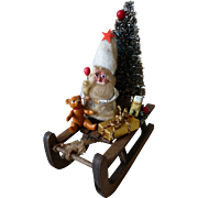 Amusing miniature vintage Santa Claus : Father Christmas : sledge : toys : Christmas tree