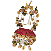 Delicious French bride's ormolu wedding cushion display stand : rose : cyclamen rosebud bisque  flowers
