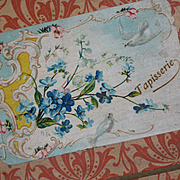 Pretty antique French empty etrennes tapisserie presentation box