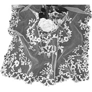 Pretty 19th C. French hand embellished tulle lace Christening veil  ( no. 2 )