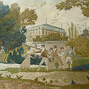 "Charming Georgian silkwork embroidery entitled ""La queue leu leu """