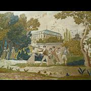 "Charming Georgian silkwork embroidery entitled ""La queue leu leu """