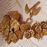 Batch antique French ormolu embellishments : dove : daisy :  leaf motifs : projects ( 31 )