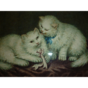 Adorable vintage framed water color painting : 2 white kittens with bows