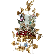 Decorative 19th C. French ormolu wedding display stand : porcelain flowers : wax crown