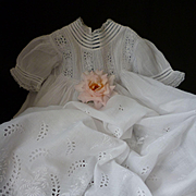 Pretty hand made French Broderie Anglaise white baby Christening gown : lace trim