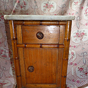 Miniature French faux bamboo dolls bedside table : marble top : circa 1900