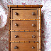 Miniature French faux bamboo wooden doll's chest of drawers : circa 1900