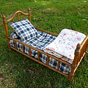 Adorable French miniature doll's faux bamboo bed : bedding : eiderdown: circa 1900