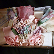 Batch French antique and vintage ribbons and bows for doll's clothing projects ( 45 pieces )
