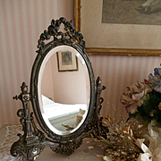 French faded grandeur boudoir vanity mirror : ribbon bow : rose garlands : circa 1900