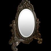 French faded grandeur boudoir vanity mirror : ribbon bow : rose garlands : circa 1900