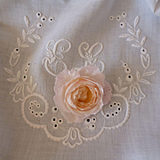 Charming small white linen tablecloth : hand embroidered large monogram : wreath