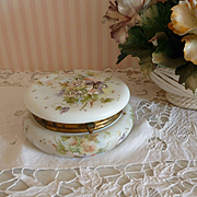 Charming French opaline dresser or vanity jar : hand painted floral decoration : enamel