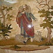 19th C. French chenille and hand painted framed silk picture : Jesus : sheep