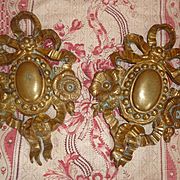Imposing pair 19th C. French gilt bronze embellishments : hook covers : ribbon bow