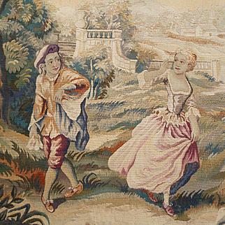 "Decorative 19th C. French Aubusson tapestry  entitled "" Le Rendez-vous galant """