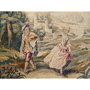 "Decorative 19th C. French Aubusson tapestry  entitled "" Le Rendez-vous galant """