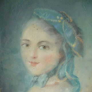 Decorative French pastel portrait painting : Marie Antoinette : circa 1900 ( no. 3 )