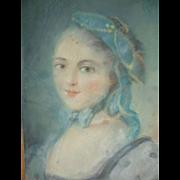 Decorative French pastel boudoir portrait painting : pretty young woman : circa 1900 ( no. 3 )