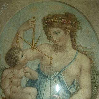 Enchanting Georgian stipple engraving : classical scene : cupid : young girl ( no. 1 )