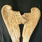 Delicious pair of large hand carved gilded wooden angel wings : Georgian period : projects