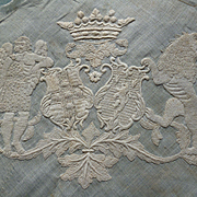 Exquisite 19th C. French embroidered coat of arms : crown Marquis : noble wedding handkerchief
