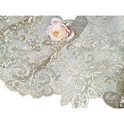 Delicious flounce 19th C. French hand embellished tulle lace  45 inches