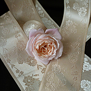 2 lengths old French champagne silk taffeta ribbon : rose motifs :  23 & 29 inches : doll projects