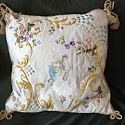 Decorative French hand embroidered boudoir cushion : gold metallic trim tassels : circa 1900